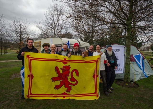 Supporters of the IndyCamp, the peoples vigil for Scotland's independence, gather at their camp near the Scottish Parliament. Picture: Steven Scott Taylor / J P License