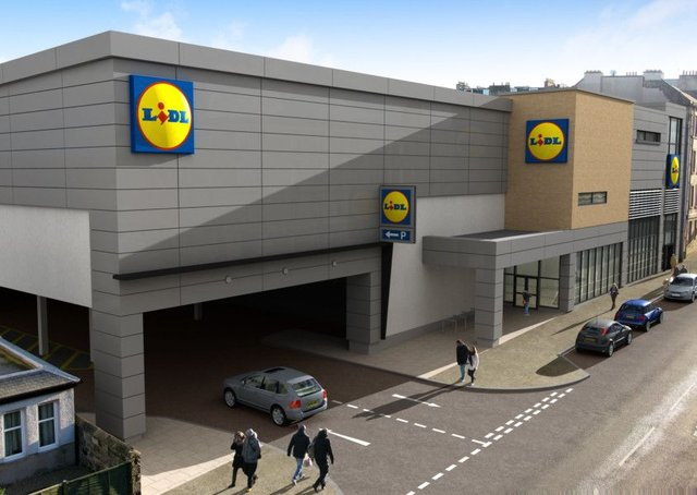 An artist's impression of the new Lidl planned for Easter Road