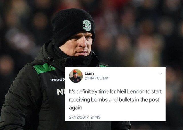 Hibs boss Neil Lennon was the subject of a vile tweet in the aftermath of Wednesday's Edinburgh Derby. Picture: SNS/Twitter