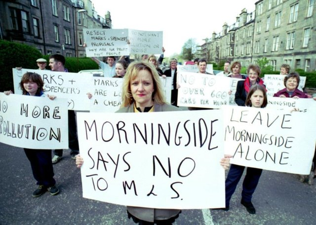 Residents of Morningside in Edinburgh take to the streets to protest at the planned Marks & Spencer food store in April 1992.