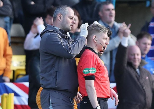 The back of assistant referee Calum Spences head after receiving treatment for a head injury. Picture; Getty