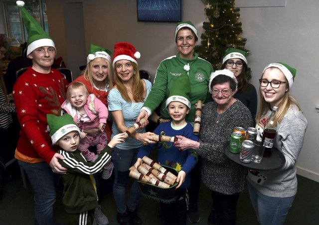 Leeann Dempster with helpers   l-r Alexander age 7, Paul, Chantelle 1, Claire, Lady, Leeann, Nathan age 8, Tanya (Volunteer), Mary, Lucy (volunteer). Picture: Lisa Ferguson