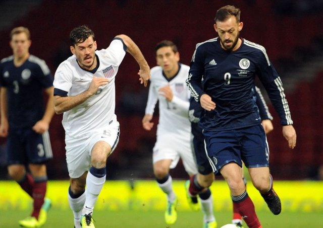 Scotland's Steven Fletcher in action against the USA. Picture: Ian Rutherford