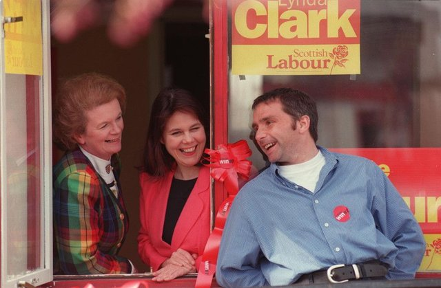 On the campaign trail for Labour with, far left, Helen Liddell, the former general secretary of the Scottish Labour Party, and candidate Lynda Clark in 1997. Picture: Ian rutherford