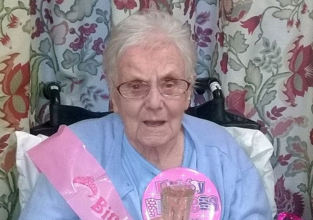 Ina Carruthers celebrated her 105th birthday on St Andrew's Day. Picture: SWNS