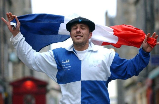 A French rugby fan on Rose Street in Edinburgh. Scotland play France at Murrayfield in the Six Nations this weeknd. Picture: TSPL