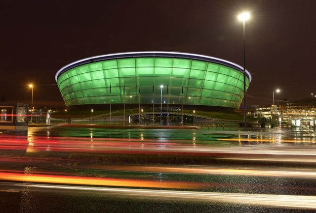 The SSE Hydro concert venue in Glasgow was lit up in green to mark St Patrick's Day. Picture: PA