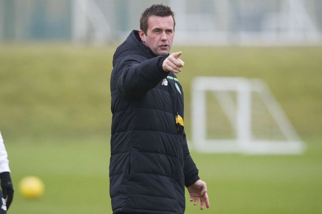Celtic manager Ronny Deila points the way in training as his squad prepare for their weekend trip to Rugby Park. Picture: Ross Brownlee/SNS Group