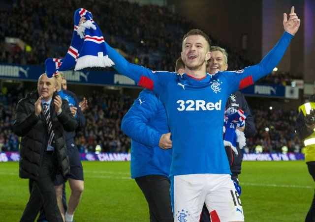 Rangers' Andy Halliday celebrates at full-time. Picture: SNS