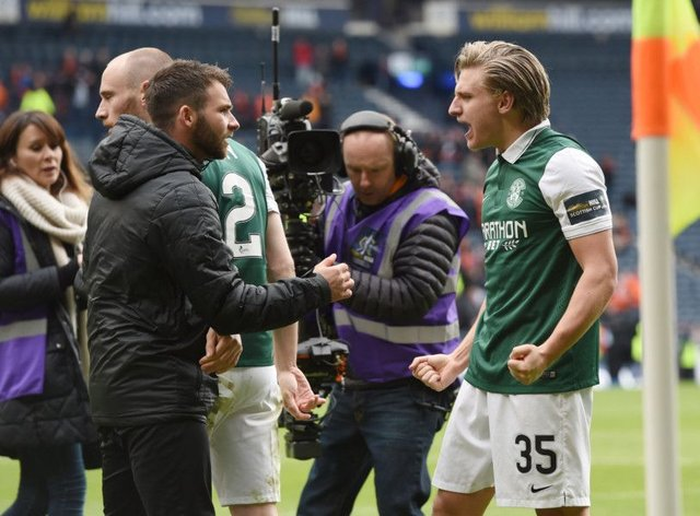 James Keatings, left, celebrates with Jason Cummings after Hibs' semi-final win over Dundee United. Keatings was suspended. Picture: Craig Williamson/SNS