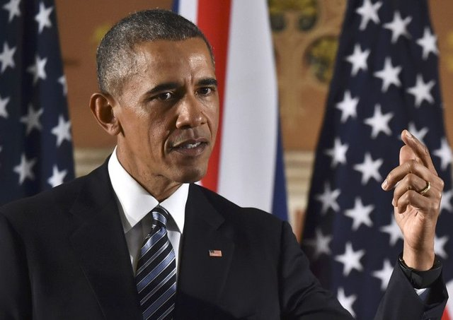 US President Barack Obama speaks during a press conference with David Cameron. Picture: Getty Images