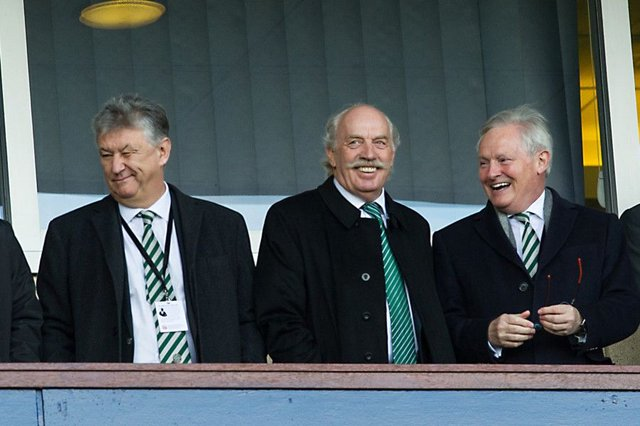 Celtic major shareholder Dermot Desmond, centre, with chairman Ian Bankier, right, and chief executive Peter Lawwell. Picture: John Devlin