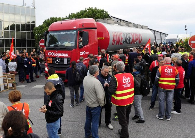 French dock city of Le Havre saw increasing numbers of workers joining protests against new bill. Picture: AP