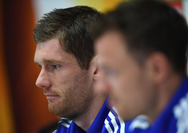 Goalkeeper Michael McGovern, left, and Jonny Evans speak at Northern Irelands press conference at their training camp. Picture: Getty