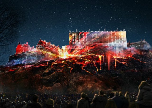 A visualisation of how the installation might look on Edinburgh Castle. Picture: EIF