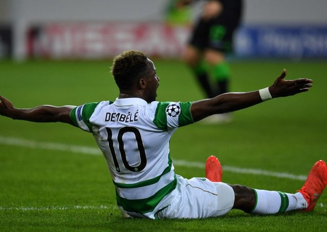 Moussa Dembele claims for a penalty after being fouled in the 75th minute. Picture: AFP/Getty