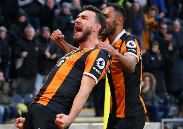 Robert Snodgrass celebrates scoring Hull City's first goal yesterday. Picture: Getty.