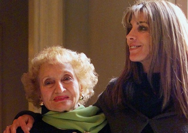 Ruth Gruber with the actress who played her, Natasha Richardson. Picture: AP/Damian Dovarganes
