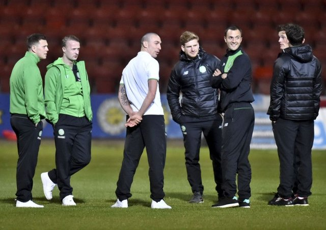 Leigh Griffiths, second from left, with some of the Celtic squad ahead of this evening's match against Partick Thistle at Firhill. Picture: Rob Casey/SNS