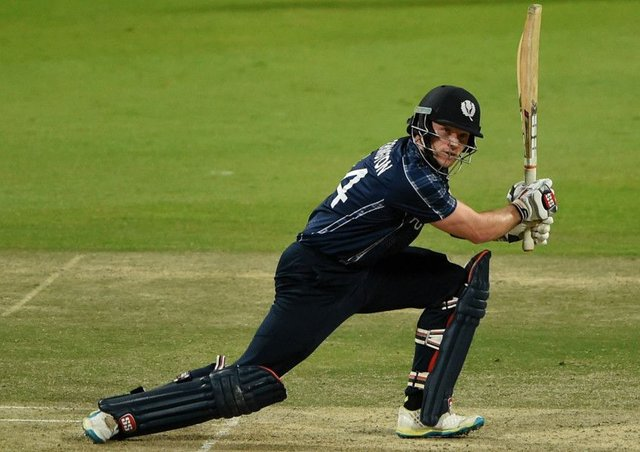 Scotland's  Richie Berrington plays a shot during the Desert T20 Challenge match against Holland at Sheikh Zayed Cricket Stadium in Abu Dhabi. Picture: Tom Dulat/Getty Images