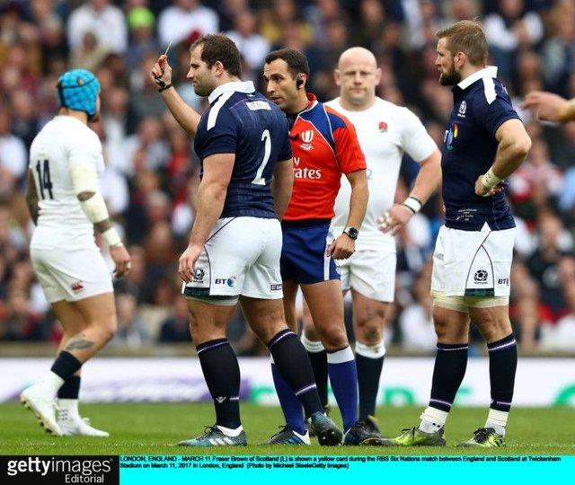Fraser Brown is yellow-carded just two minutes into the game. Scotland conceded ten points while he was off. Picture: Michael Steele/Getty