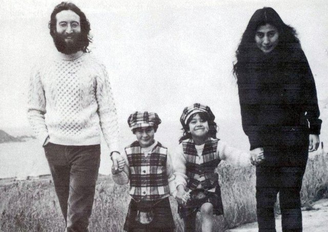 John Lennon and Yoko Ono, with their children, Julian, left, and Kyoko, on holiday at Durness, in Sutherland, in 1969. PIC: PA.