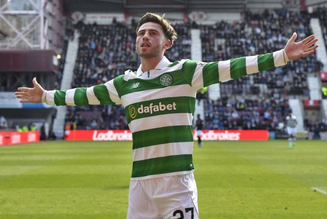 Celtic's Patrick Roberts celebrates scoring his side's fourth goal. Picture: SNS