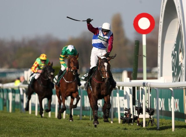One For Arthur ridden by Derek Fox wins the Grand National at Aintree. Pic: Davies/PA Wire