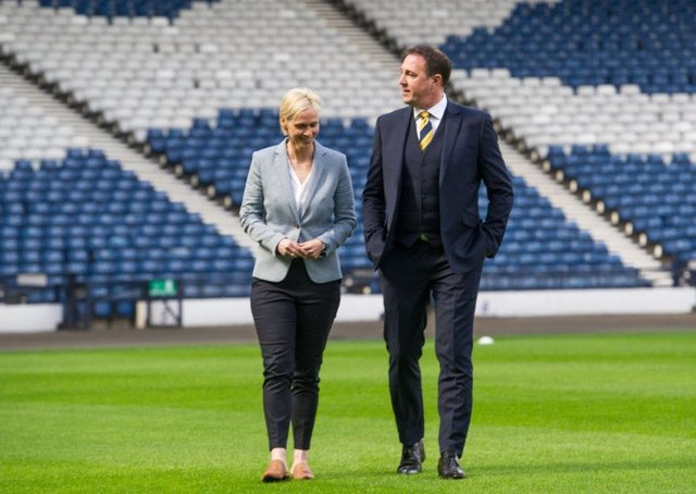 New Scotland women's head coach Shelley Kerr with Scottish FA Performance Director Malky Mackay at Hampden.
