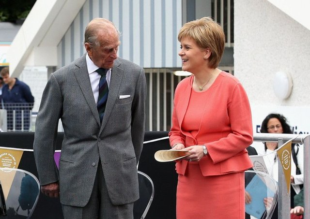 Nicola Sturgeon and Prince Philip at the opening of Tweedbank station. Picture: Getty Images