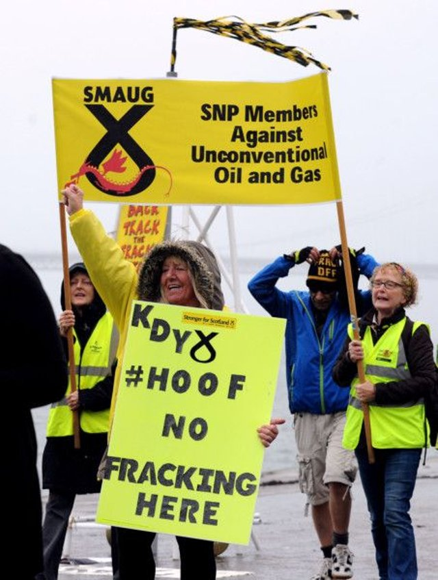 Environmental campaigners protest against fracking. Pic: Lisa Ferguson
