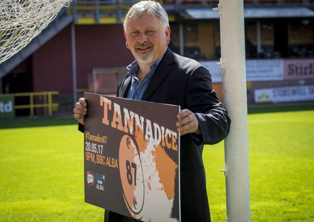 Paul Sturrock  at his old stamping ground  to promote the film Tannadice 87
