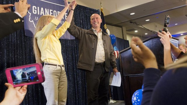 Republican Greg Gianforte scelebrates with supporters after being declared the winner at a election night party for Montana's special House election. Picture: Janie Osborne/Getty Images