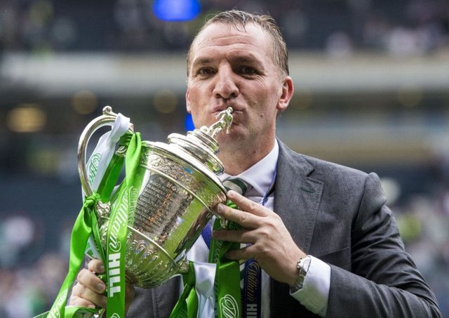 Brendan Rodgers  with the Scottish Cup. Now the Celtic manager will look to take the club into the last 16 of the Champions League next season.