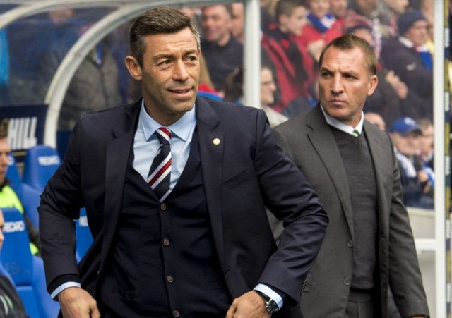 Rangers manager Pedro Caixinha and Celtic counterpart Brendan Rodgers before last season's match at Ibrox which Celtic won 5-1. Picture: Alan Harvey/SNS