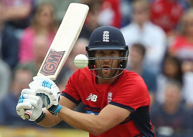Dawid Malan has his eyes on the prize as he swings at a South African delivery. Picture: AFP/Getty.