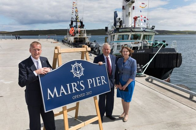 Shetland MSP Tavish Scott (left) officially names the new Mairs Pier in Lerwick this week with harbour authority chairman Brian Anderson and chief executive Sandra Laurenson. Picture: John Couts