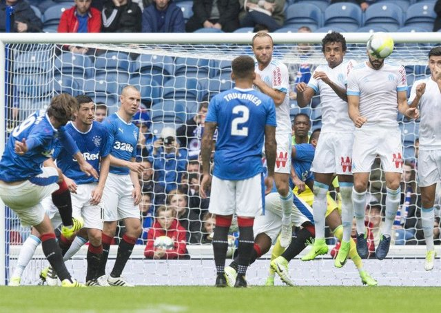 Niko Kranjcar fires in Rangers equaliser from a free kick. Picture: PA