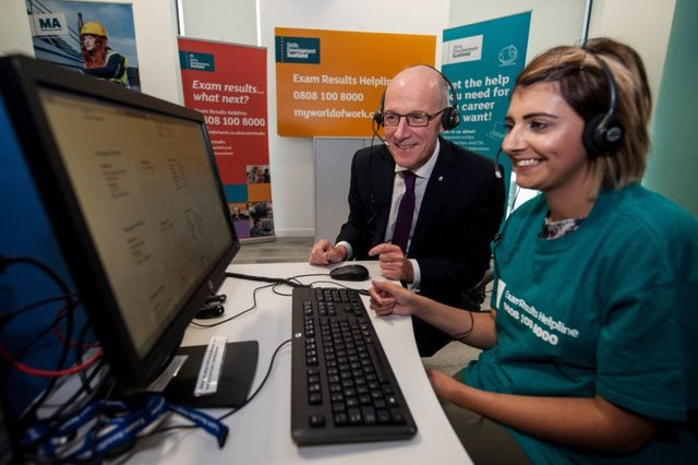 John Swinney meets Skills Development Scotland (SDS) careers advisers the day before exam results were published. Picture: John Devlin/TSPL