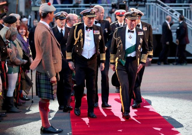 Prince Charles, known as the Duke of Rothesay in Scotland, Prince William arrive to attend the Royal Edinburgh Military Tattoo at Edinburgh Castle. Picture: Jane Barlow/PA Wire