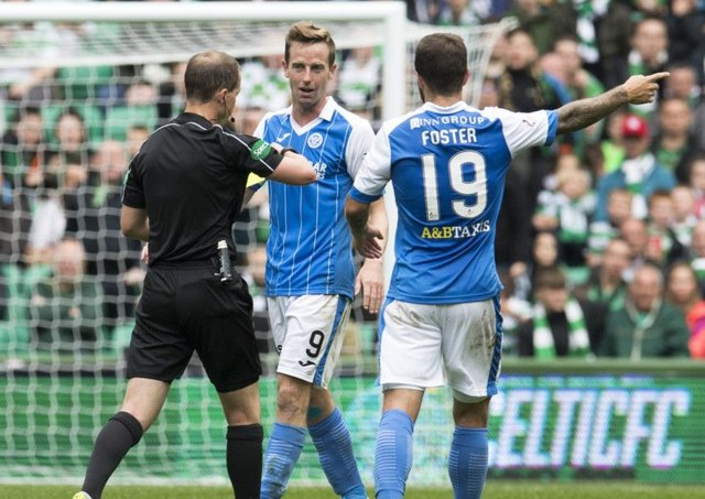 St Johnstone's Steven MacLean (centre) is shown a yellow card by referee Willie Collum. Picture: SNS
