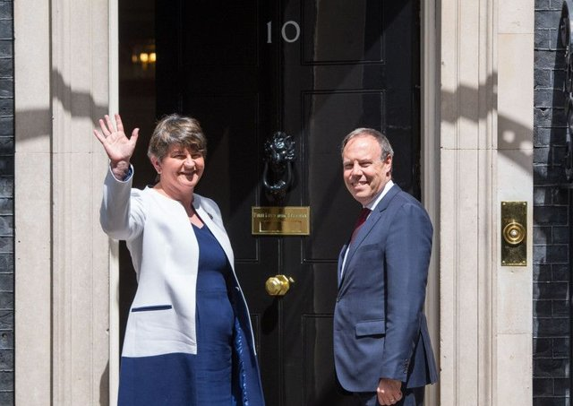 DUP leader Arlene Foster and DUP deputy leader Nigel Dodds at 10 Downing Street. Picture: PA