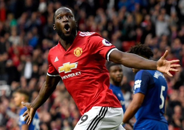 Romelu Lukaku celebrates scoring Manchester United's third g oal against former club Everton. Picture: Getty Images