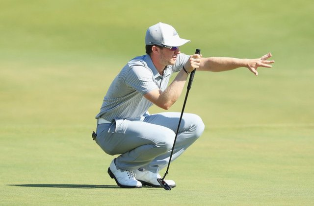 Connor Syme lines up a putt on his way to a bogey-free 67 in the final round of the Portugal Masters. Picture: Getty Images