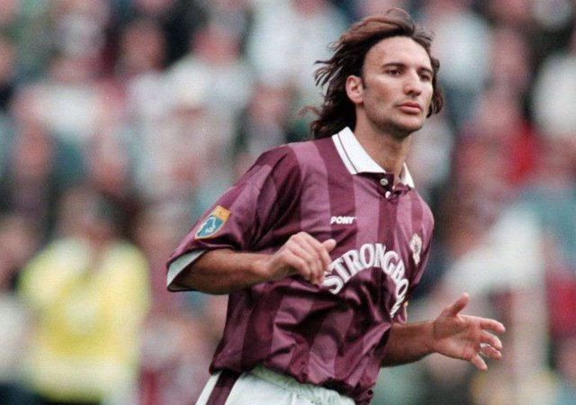 Stefano Salvatori in action for Hearts during the 1996/97 season. Picture: SNS