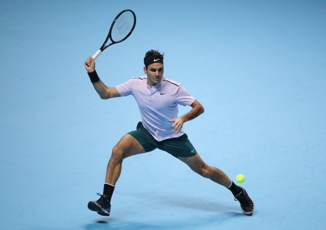 Roger Federer beat Jack Sock in his opening match at the ATP Finals. Picture: Julian Finney/Getty Images
