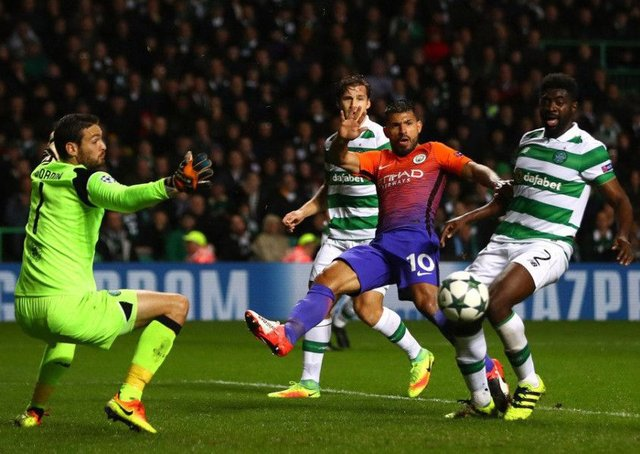 Celtic in action against Manchester City at Parkhead during last year's Champions League. Picture: Getty Images