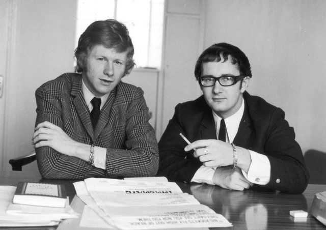 Tony Calder, right, and  Andrew Loog Oldham in 1965.  (Photo by William H. Alden/Evening Standard/Getty Images)