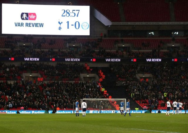 A VAR review during Tottenham Hotspur's match with Rochdale at Wembley. Picture: PA