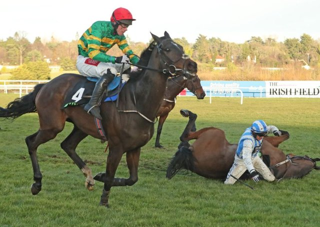 Edwulf  and Derek OConnor winning the Irish Gold Cup at Leopardstown. Photograph: Niall Carson/PA